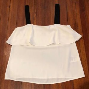 White H&M blouse with black straps